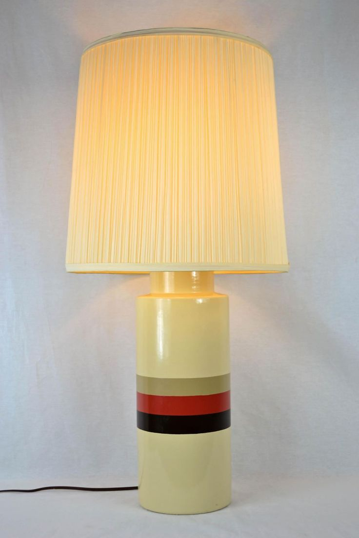 63 best 70s and 80s modern decor images on pinterest unusual 1970s phil mar table lamp cream striped retro home decor