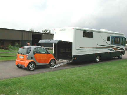 Motor Home with Garage for Cars; this must be a 100ft long motor home