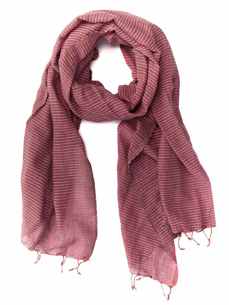 Mink brown / hot pink medium weight cotton scarf from fashionABLE
