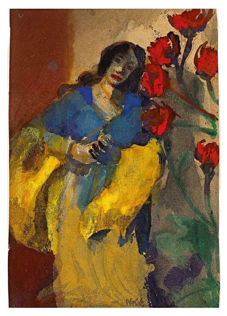 Emil Nolde - Junge Frau mit Gelber Stola und Roten Blüten