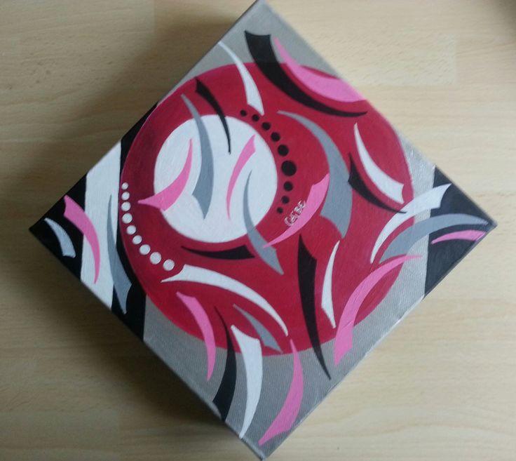 Peinture moderne d co acrylique sur toile noir argent for Peinture moderne geometrique