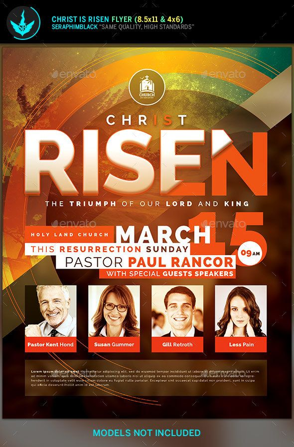 Christ is risen church flyer template flyer template for Free church flyer templates photoshop
