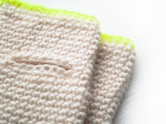 Handmade woolen fingerless gloves in white and neon by bykirabo, $26.00