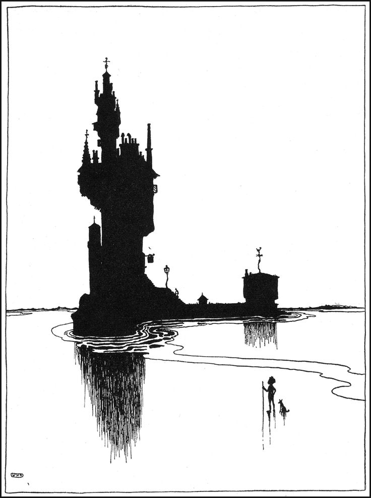William Heath Robinson  Black and white illustration, simple and elegant with excellent composition.