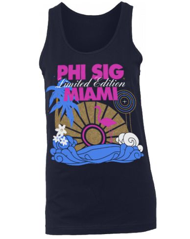 """Logo looks cute, change text to """"Sigma Kappa"""", or something similar, change style so logo is on back (tee or tank??), change color to brighter palette, frocket with text that could work for next [formal recruitment] Bid Day...?"""