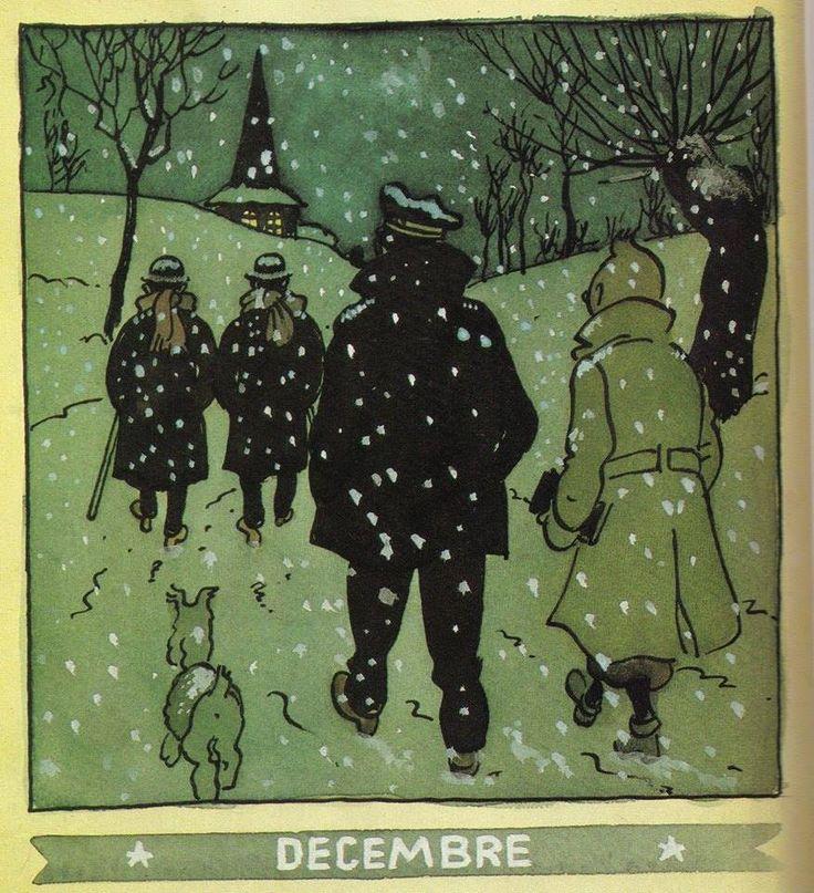 ¤ calendrier Herge Décembre 1944. Tintin et Milou le capitaine Haddock de dos sous la neige (et les Dupont Dupond) #Hergé