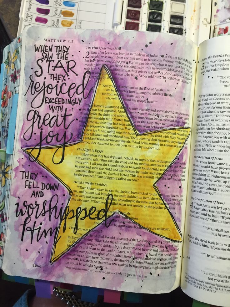 Matthew 2 Bible Art Journaling by @patjournals