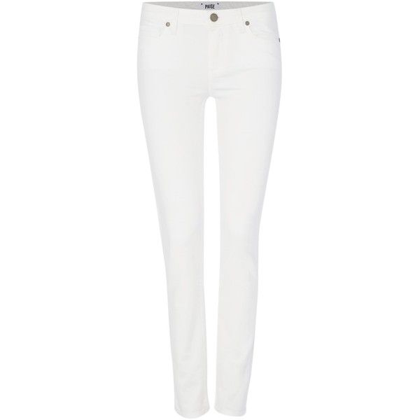 Paige Skyline skinny ankle peg jean in optic white (£200) ❤ liked on Polyvore featuring jeans, white, women, white stretchy jeans, ankle length skinny jeans, zipper jeans, white skinny jeans and stretch jeans