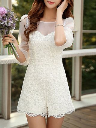 White Sweet Polyester Romper - StyleWe.com