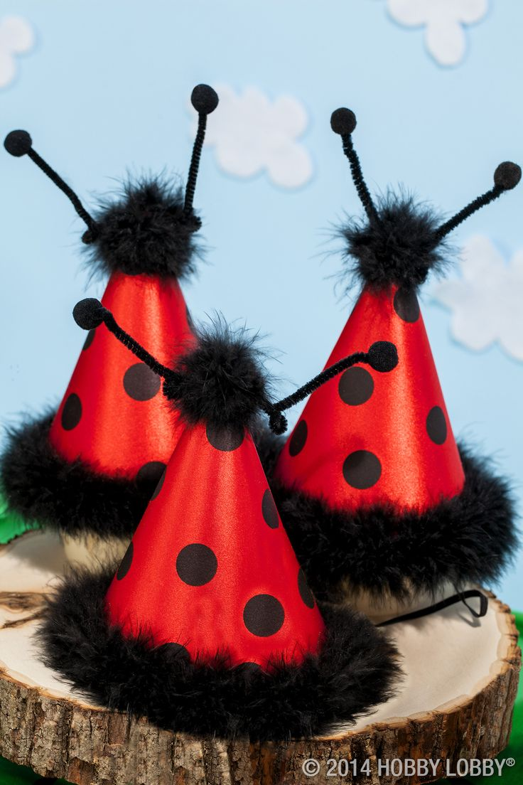 It's time for a ladybug party! These adorable headbands and party hats make spring parties even more fun.
