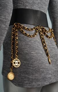 Chanel belt RARE leather belt coins /meddalions Coco Chanel