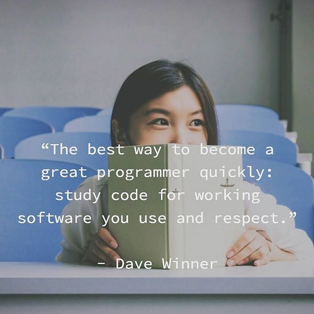 """The best way to become a great programmer quickly: study code for working…"