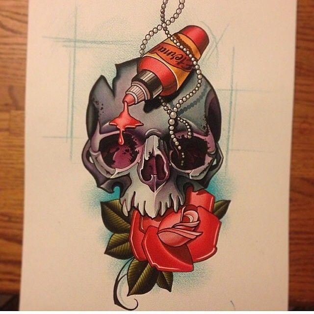 Skull Rose Tattoos, Body Art Tattoos, Skull Tattoo Design, Tattoo Designs, Tattoo Sketches, Tattoo Drawings, Tattoo Studio, Desenho New School, Neo Tattoo