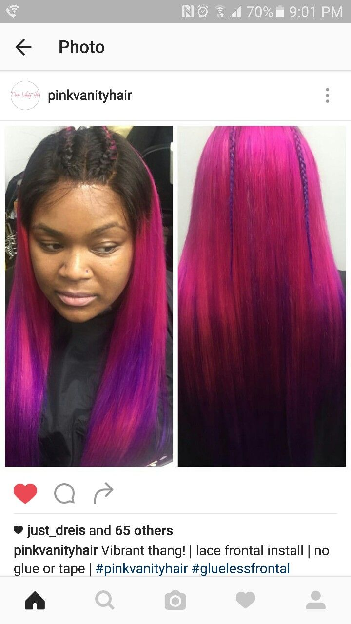 My pink purple ombre #birthday hair, frontal