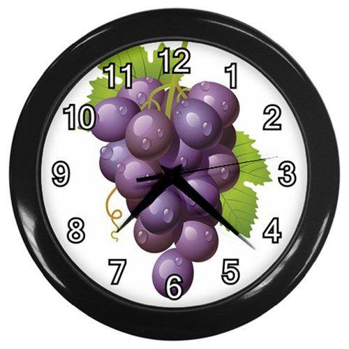 Purple+Water+Drop+Grapes+Black+Frame+Kitchen+Wall+Clock