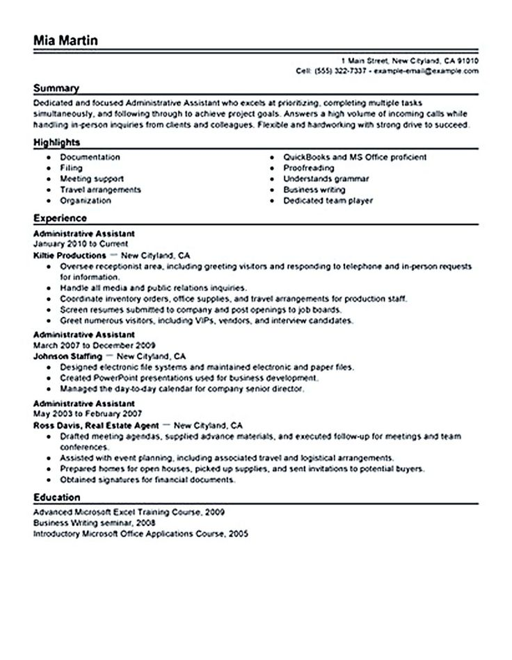 25+ unique Administrative assistant resume ideas on Pinterest - office assistant sample resume