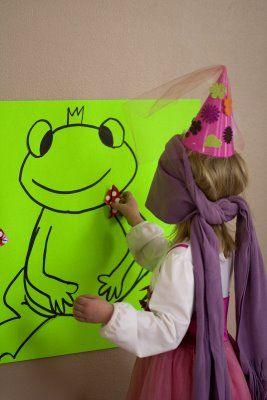 Pin the Kiss on the Frog! Perfect for a princess party game