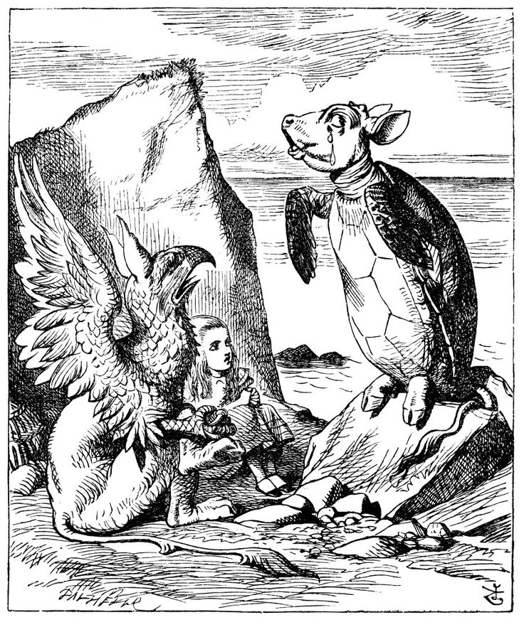 Mock turtle and the gryphon from Alice in Wonderland. By John Tenniel, 1865