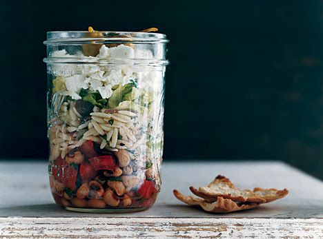 Greek Salad with Orzo and Black-Eyed Peas. This delicious and protein filled salad would make a great side or summer main dish. Pack in individual jars for a fun picnic.