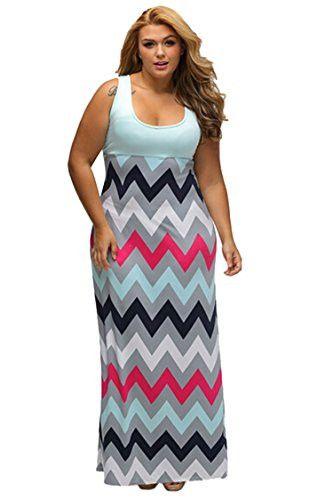 Women's Plus Size Scoop Neck Tank Top Chevron Zig Zag Stripe Maxi Dress