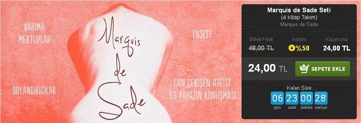 Günün Fırsatı: %50 İNDİRİM!  Marquis de Sade Seti (4 Kitap Takım) Marquis de Sade Kafe Kültür Yayıncılık  http://www.hesapkitap.com/marquis-de-sade-seti.html