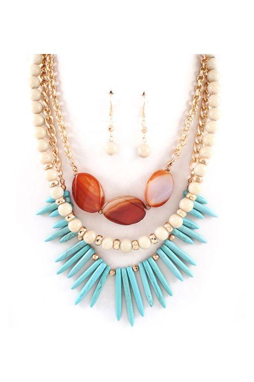 Kadeline Necklace in Turquoise on Emma Stine Limited    Three strand necklace