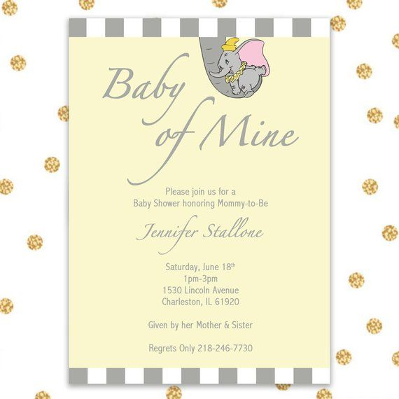 Dumbo Baby Shower Invite Only Digital