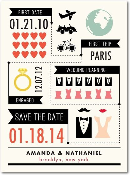 A chic infographic makes the perfect Save the Date card for a modern bride. Send your Save the Dates 6-8 months in advance of your wedding date, to ensure your guests can make it!