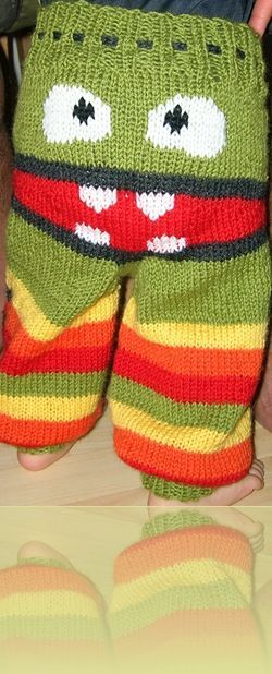 Monster Bum Longies                      Yarn: Any yarn for 4mm needles, 100m - 50g. 2 skeins of base color (BC), 1 skein of each stripe color (C2/C3), about 25m red, a bit of white, and a bit of black.                                                                                       Gauge: 20 stitches = 10cm.