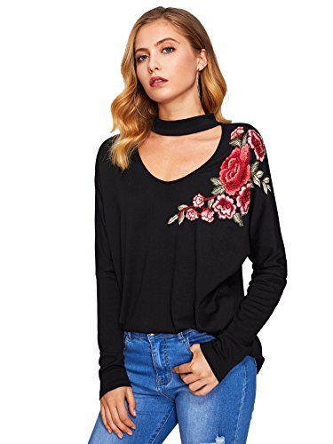 8aee0c714686f5 ROVLET Women's Choker V Neck Flower Embroidery Long Sleeve T-shirt Top