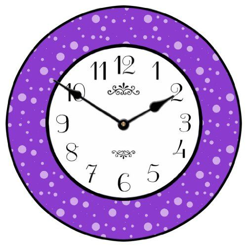 Purple Dots Wall Clock 10 60 Whisper Quiet Nonticking U003eu003eu003e Continue To The  Product At The Image Link.