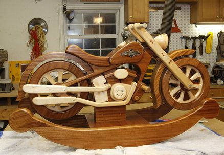 10 images about wood on pinterest furniture log bed for Woodworking plan for motorcycle rocker toy