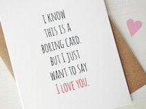 Funny I love you card boring greeting card