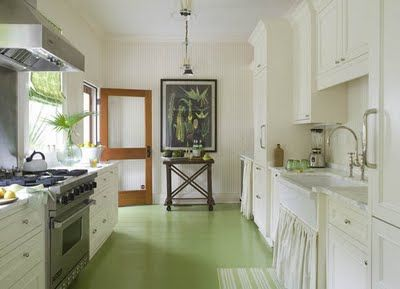 FABULOUS Old Village 'cottage' love the painted floorsPainted Wood, Green Floors, Green Kitchens, Painting Wood Floors, Painting Floors, Screens Doors, Farmhouse Sinks, Painted Floors, White Kitchens