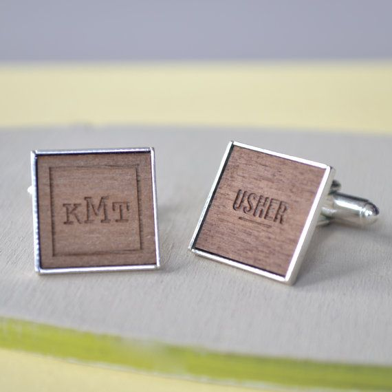 A pair of personalised usher cufflinks, uniquely crafted in walnut wood with elegant silver plating. The ideal wedding cufflinks to gift to ushers, groomsmen and other members of the wedding party as a favour for your big day! Cufflinks | Groomsmen Gifts | Unique Groomsmen Gifts | Groomsmen Gift Ideas