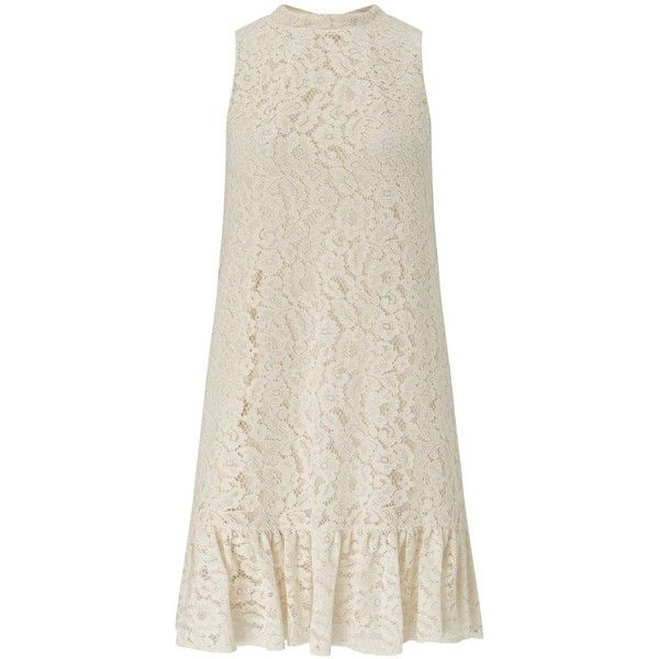 Miss Selfridge Lace Drop Hem Dress ($38) ❤ liked on Polyvore featuring dresses, cream, miss selfridge dresses, cream dress, lace dress, frill dress and cream sleeveless dress