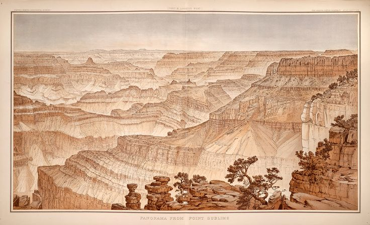 """""""Panorama from Point Sublime (Grand Canyon), Looking West,"""" by Clarence E. Dutton (1882)"""
