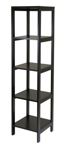 Winsome Wood Hailey 5-Tier Shelf Tower by Winsome Wood. $99.22. Ready to assemble with included tools. Modern 5-tier shelving unit from Hailey media and storage furniture collection. Measures 15-inch square by 60-inch high. Made of solid/composite wood with stylish Espresso finish. Simple frame and open sides look light and airy. From Winsome Wood's new Hailey line of modular entertainment and storage/display furniture this 5 tier wood shelf in Espresso finish is des...