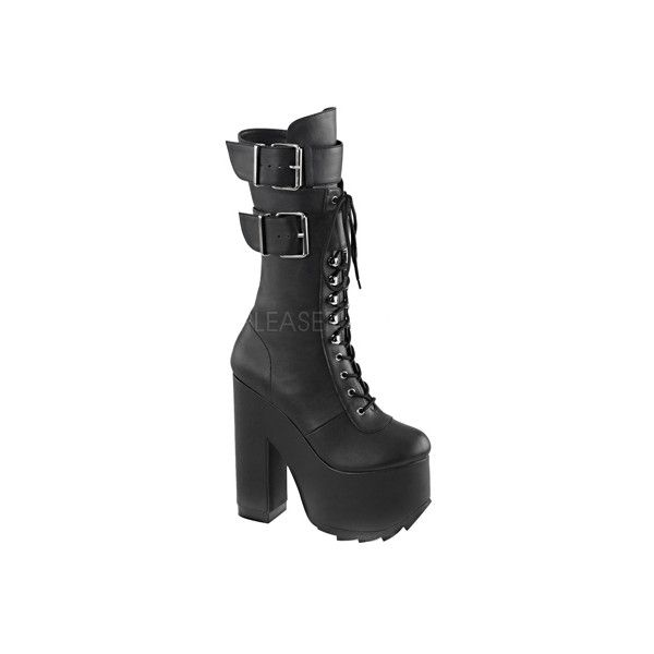 Women's Demonia Cramps 202 Boot ($100) ❤ liked on Polyvore featuring shoes, boots, knee high boots, knee high heel boots, lace up high heel boots, black high heel boots and knee length boots