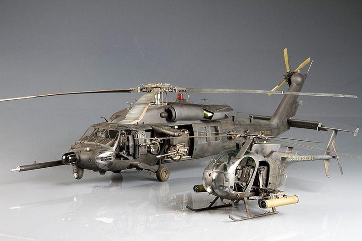 Blackhawk and Little Bird Gunships scale models.