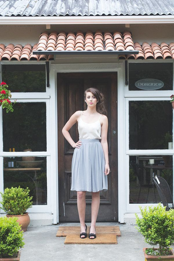 ViCTOR Bridesmaid - style GINA gathered knee length skirt blue/grey