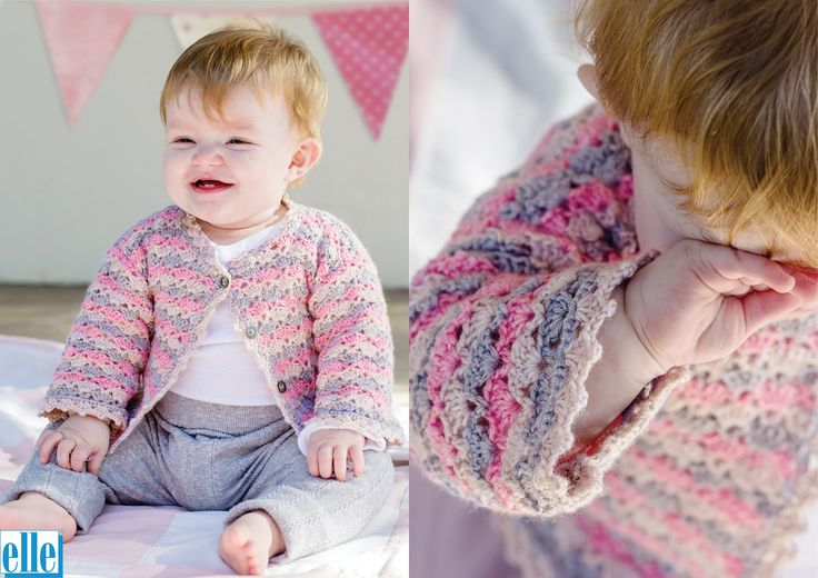 Stripe Jacket  Brand: Elle Count: Double Knit Yarn: Babykins Size From: Birth Size To: 36 months
