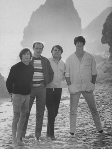 Dennis Wilson, Mike Love, Carl Wilson and Brian Wilson of the Beach Boys, Posing on Beach