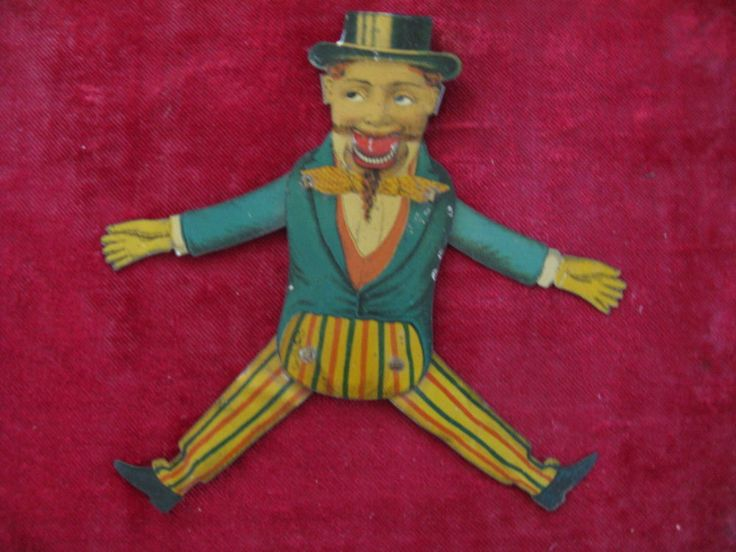 ANTIQUE FLAT TIN LITHO UNCLE SAM JUMPING JACK TOY.MOVE ARMS EYES & MOUTH CHANGE