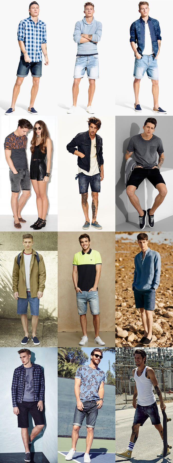 Men's Denim Shorts and Footwear/Shoes Combinations Outfit Inspiration Lookbook
