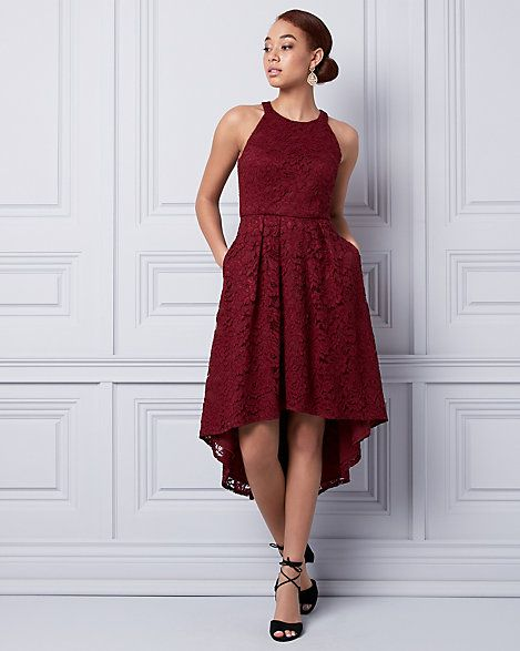 Lace Halter Dress - Turn up the romance in a breathtaking lace dress designed with a timeless halter neckline and high-low hem.