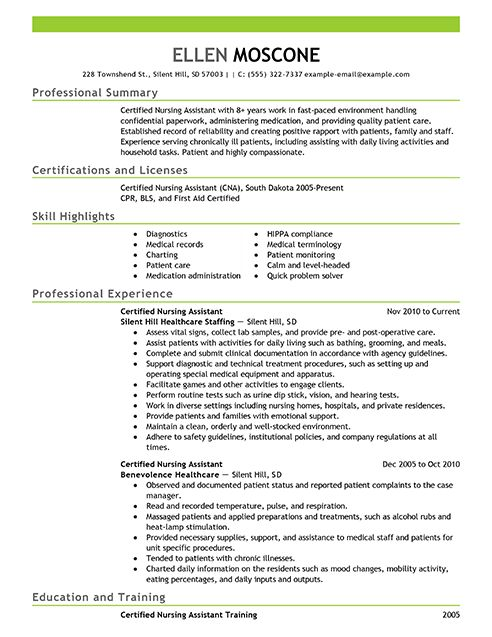 11 best Resume sample images on Pinterest Job resume, Resume and - certified nursing assistant resume