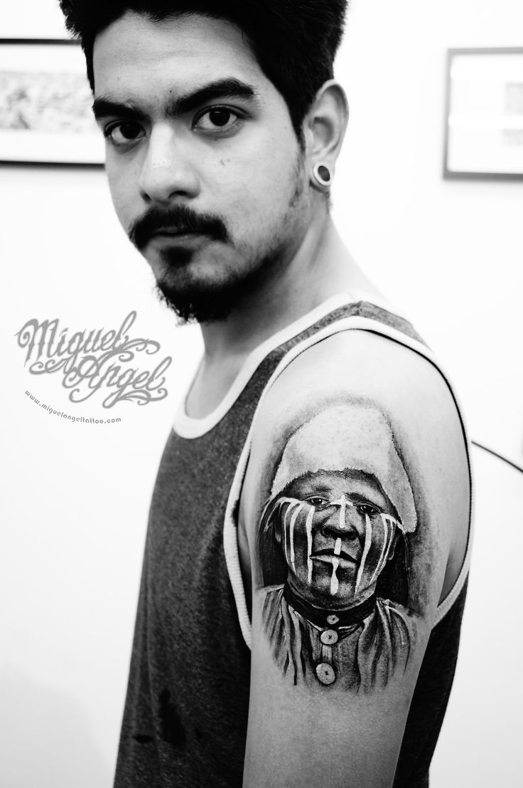 https://flic.kr/p/AfqnnJ   Selknam portrait tattoo   Miguel Angel Custom Tattoo…