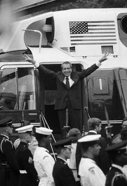 Richard Nixon (August 9, 1974)    President Nixon standing on the steps of Marine One, waves to his fans soon after he resigned as President on August 9, 1974. No prizes for guessing the headlines across newspapers on the 10th Of August.