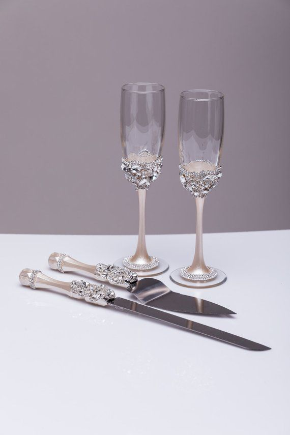 Wedding Gles And Cake Server Set Knife Ivory Silver Bride Groom Of 4 Flutes Sets